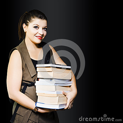 Woman carrying books from library
