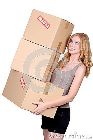 Woman carrying cartons