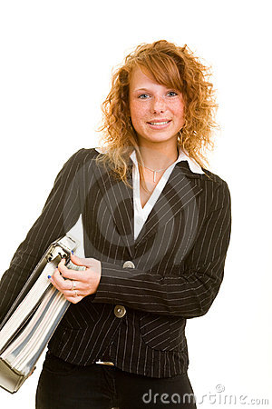 Woman carrying files