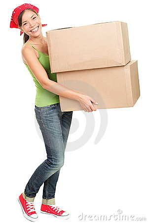 Free Woman Carrying Moving Boxes Stock Photography - 21692062