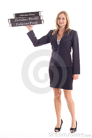 Woman carrying pizza