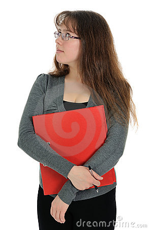 The woman carrying red folder