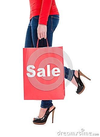 Woman Carrying Sale Shopping Bag