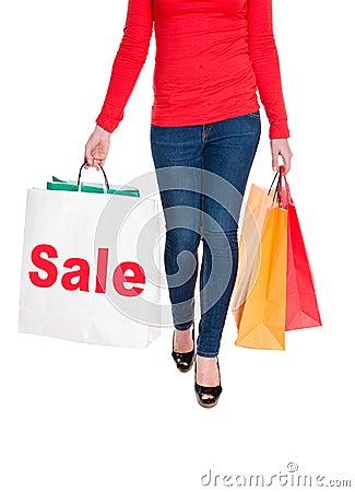 Woman Carrying Shopping Bag Advertising Sale
