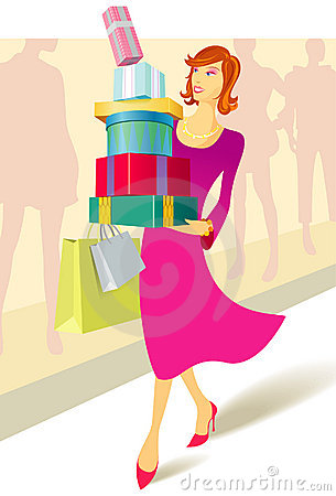 Woman carrying a stack of presents & bags