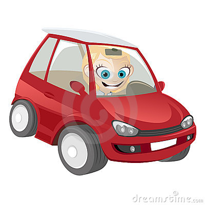 Woman in cartoon car