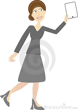 Woman in casual business attire holds tablet