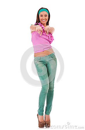 Woman in casual clothes, pointing at you