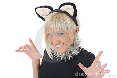 Woman with cat ears
