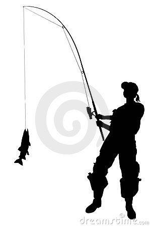 Woman Fishing Silhouette Clipart