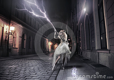 woman catching thunderbolts