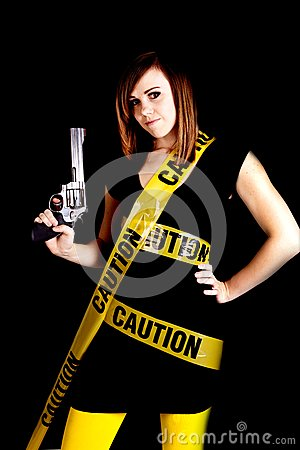 Woman caution gun
