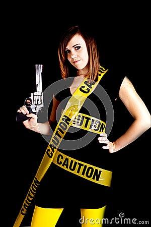 Woman caution gun