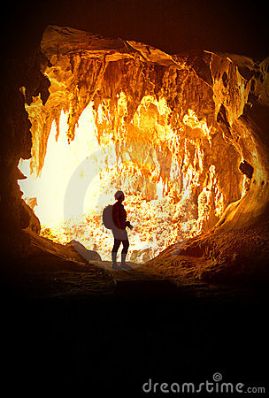 Woman In Cave Stock Photos - Image: 21047413