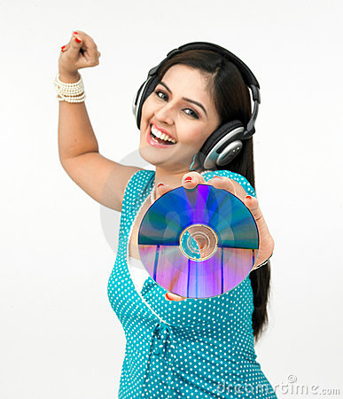 Woman with cd and headset