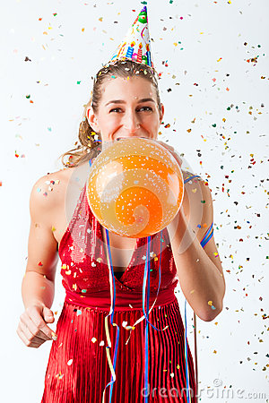 Free Woman Celebrating Birthday With Balloon Stock Photography - 27368902