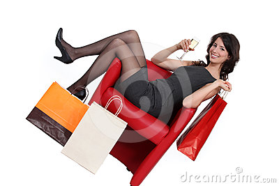 Woman celebrating her shopping