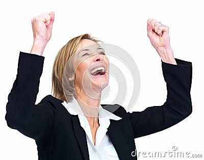 Woman celebrating success over white backgroun