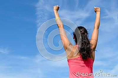 Woman celebrating win