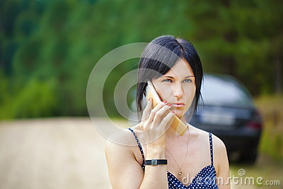 Woman with a cell telephone