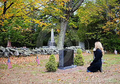 Woman in cemetery