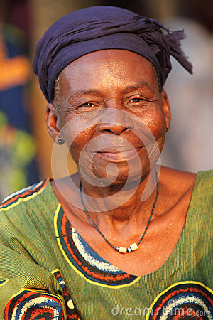 Woman at an ceremony in Benin Editorial Stock Image