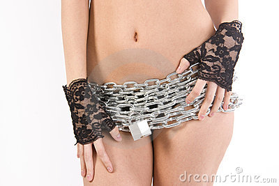 Woman in chains padlock wrapped torso