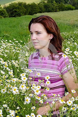 Woman in chamomile