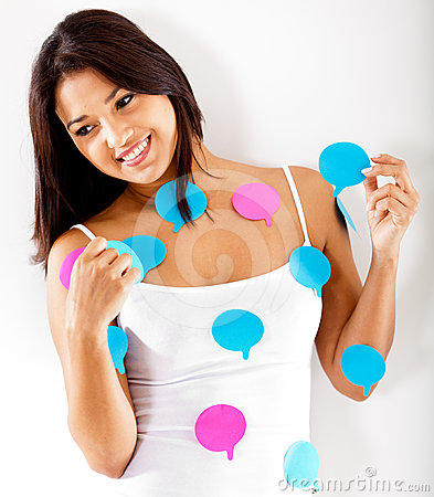 Woman with chat bubbles