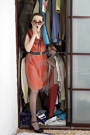 Woman check clothes before shopping