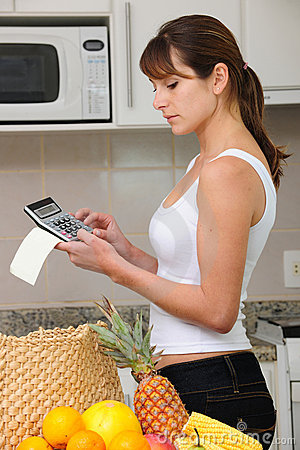 Woman checking bill