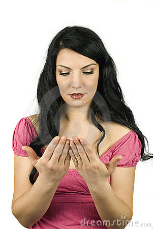 Woman checking her palms