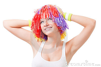 Woman cheer leader with color hair