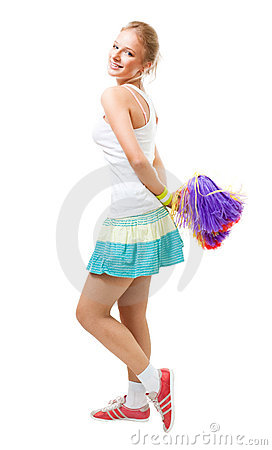 Woman cheer leader dance and smile