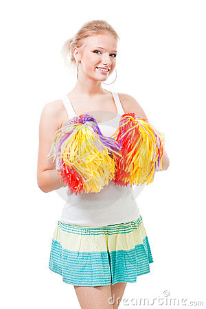 Woman cheer leader with pompoms