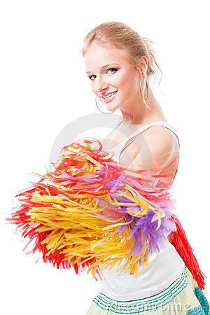 Woman cheer leader smile and shake pompoms