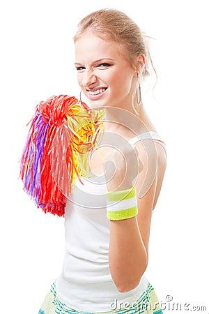 Woman cheer leader of winning team