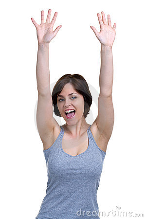 Woman cheering with her hands in the air
