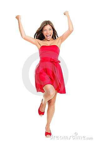 Woman cheering in summer dress