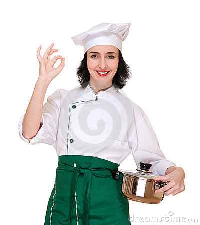 Woman in chef uniform with ok sign