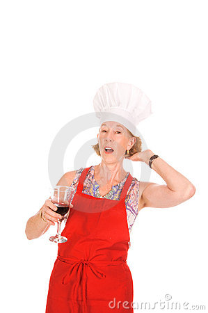 Woman chef with wine