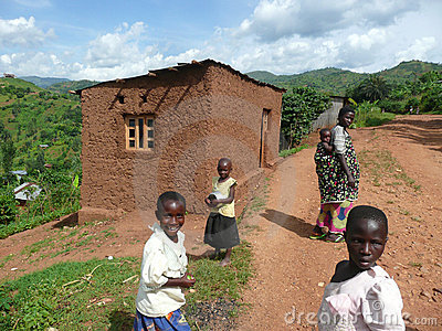 Woman and Children on Burundi Road Editorial Image
