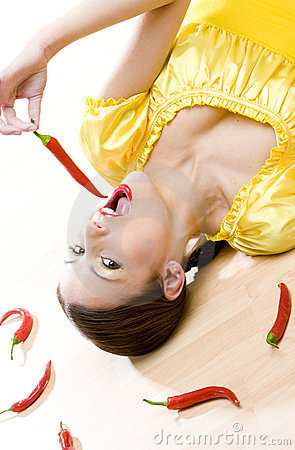 Woman with chilis