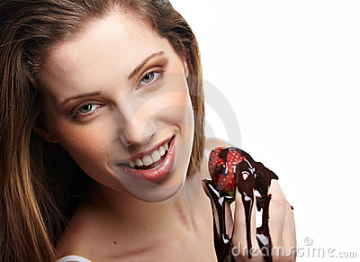 Woman with a chocolate desert