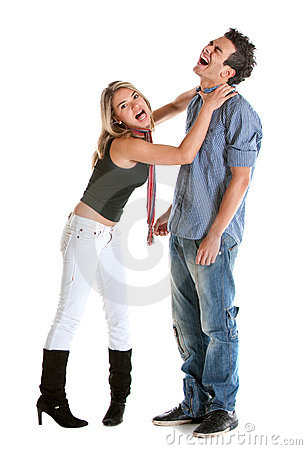 Woman choking a man