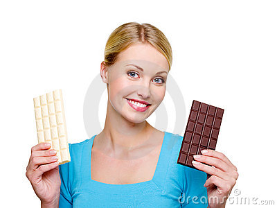 Woman choose  from sweet and bitter chocolate