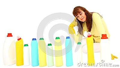 Woman choosing detergent