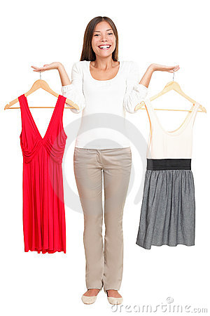 Woman choosing dresses