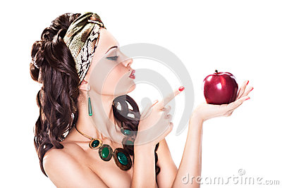 Woman Choosing a Healthy Apple - Dieting concept