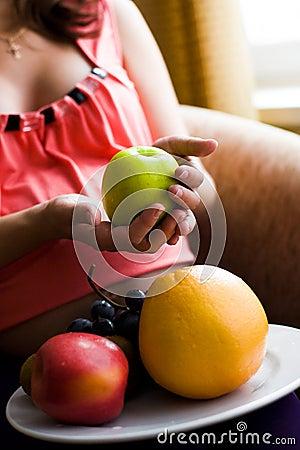 Woman choosing  healthy food